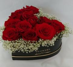 Heart Box -With 12 Roses-Box 1